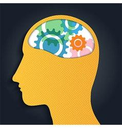 Gear Brain Head Man vector image vector image