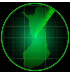 Radar screen with the silhouette of Finland vector image vector image