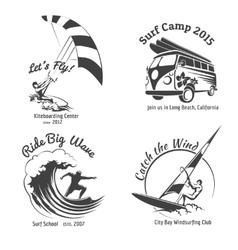 Vintage surfing labels and badges set vector image vector image