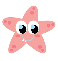 Cute beautiful Sea star isolated on white vector image vector image
