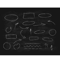 Hand-drawn chalk scribble design elements vector image vector image