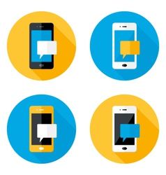 Mobile Message Circle Flat Icons Set vector image