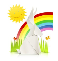 nature scene with rabbit made vector image vector image