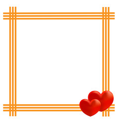 yellow frame with two hearts vector image