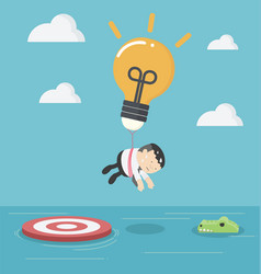 businessman with a light bulb parachute is flying vector image vector image