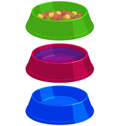 colorful cartoon pet food empty and full bowl set vector image vector image