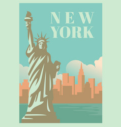 nyc and statue of liberty with skyscrapers vector image vector image