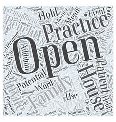 Open House Benefits in Family Practice Word Cloud vector image