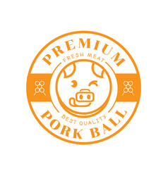 premium pork ball with pig stick out tongue vector image vector image
