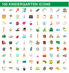 100 kindergarten icons set cartoon style vector