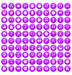 100 social media icons set purple vector