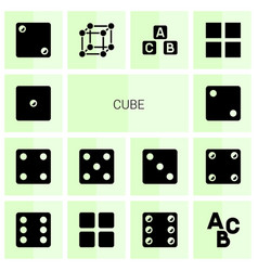 14 cube icons vector