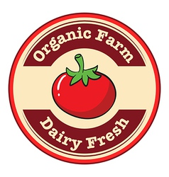 A tomato with a dairy fresh and organic farm label vector
