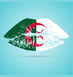 algeria flag lipstick on the lips isolated on a vector image