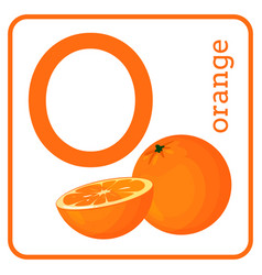 An alphabet with cute fruits letter o orange vector