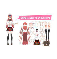 Anime manga schoolgirl in a red tartan skirt vector