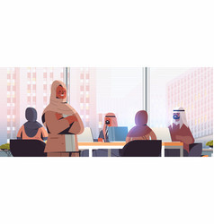 arab businesswoman leader discussing with arabic vector image