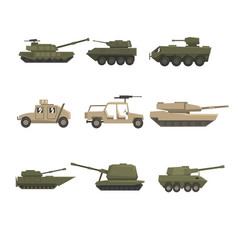 armored army vehicles set military heavy special vector image