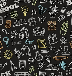 Back to school chalk doodles seamless pattern vector
