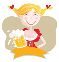 Bavarian woman with beer vector image