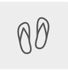 Beach slippers thin line icon vector