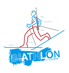 Biathlon racer line art stylized vector