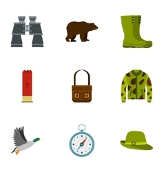 Bird hunting icons set flat style vector