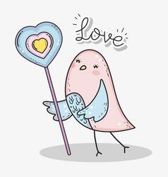 Bird with heart lollipop to happy valentines day vector