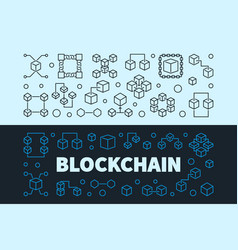 blockchain concept banners set block chain vector image
