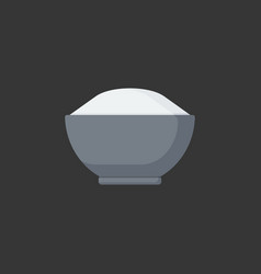 Bowl of rice flat icon vector