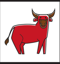 Bull in red color isolated on white graphic poster vector