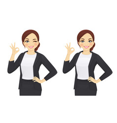 Business woman gesturing ok vector