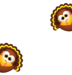 Card for Thanksgiving Day Two funny turkeys on a vector image