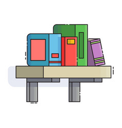 card with books on bookshelves in flat design vector image