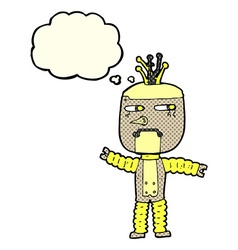 Cartoon waving robot with thought bubble vector