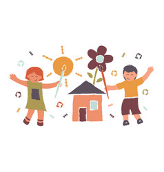 children draw sun flower and houseconcept vector image