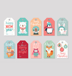 Christmas gift tags set with cute characters vector