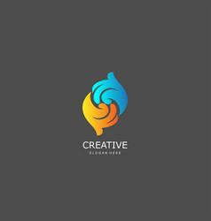 circle hand logo concept vector image