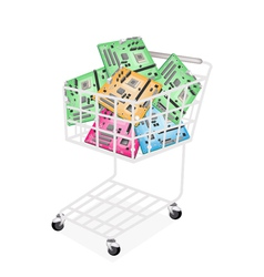 Colorful Computer Motherboard in A Shopping Cart vector image