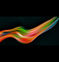 colorful flow brush stroke wave sea isolated line vector image