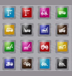 Construction transport glass icons set vector