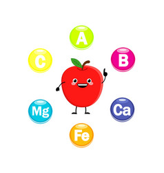cute cartoon apple characters with vitamins symbol vector image