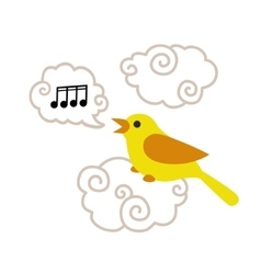 Cute cartoon bird sitting on the cloud and singing vector image