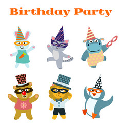Cute dancing animals on birthday masquerade party vector