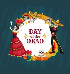 Day dead skeletons sugar skulls catrina vector