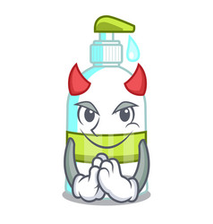 Devil liquid soap isolated with on mascot vector