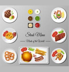 different steak menu on poster vector image