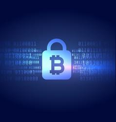 Digital bitcoin symbol with secured lock shape vector