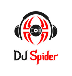 dj spider music logo design vector image