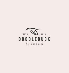 doodle duck logo icon vector image